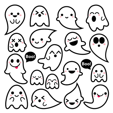 people: Cute vector ghosts icon set, Kawaii black stroke ghost collection