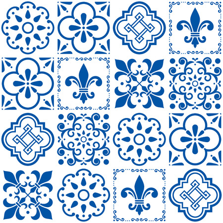 Portuguese vector tiles pattern, Azulejos vintage geometric ceramics Illustration
