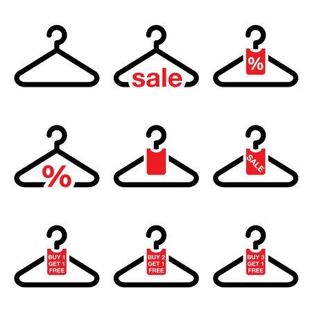 web: Hanger, sale, buy 1 get 1 free buttons set Illustration