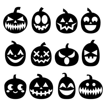 Halloween Kürbisse Vektor-Icon-Set, Halloween Gruselige Gesichter ...