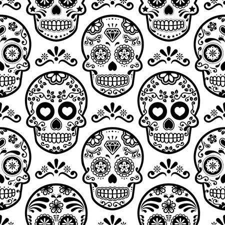멕시코 설탕 두개골 벡터 원활한 패턴, 할로윈 사탕 두개골 배경, 죽은 축하 일, Calavera 디자인 일러스트