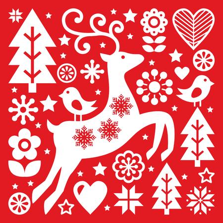 ホワイト クリスマス北欧民芸赤、トナカイ、鳥や花の装飾やご挨拶カード  イラスト・ベクター素材