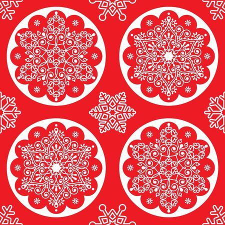 クリスマスベクターフォークパターン-ホワイトスノーフレーク曼荼羅赤、スカンジナビアスタイルのクリスマスの壁紙にシームレスなデザイン  イラスト・ベクター素材