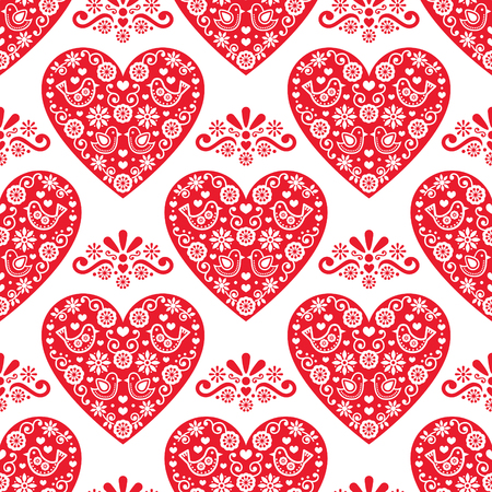 repeated: Folk heart vector seamless pattern, Scandinavian Valentines Day design with red hearts on white background
