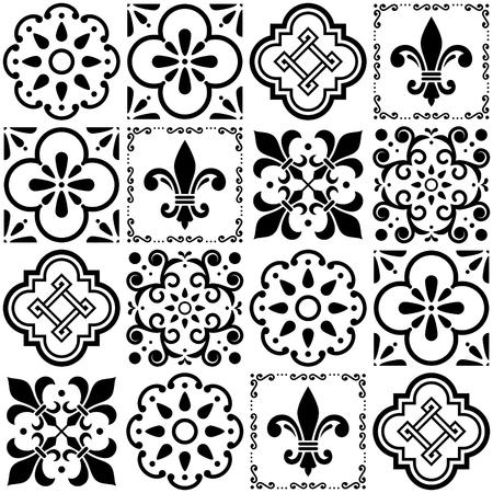 black: Portuguese vector tiles pattern, Lisbon seamless black and white tile design, Azulejos vintage geometric ceramics