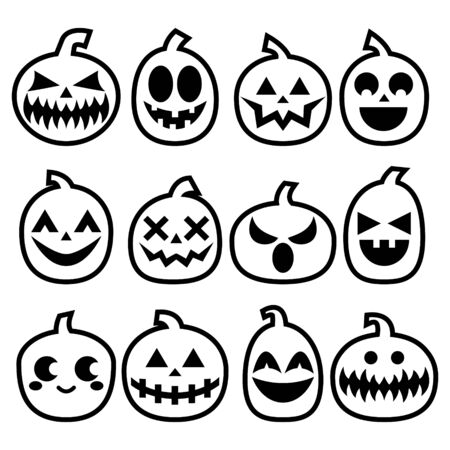 grime: Halloween Pumpkins vector icon set, Halloween scary faces design collection, stroke pumpkin decoration in black on white background