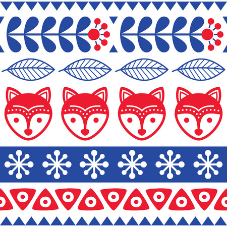 red wallpaper: Scandinavian seamless vector folk art pattern - Finnish floral design with foxes, Nordic style