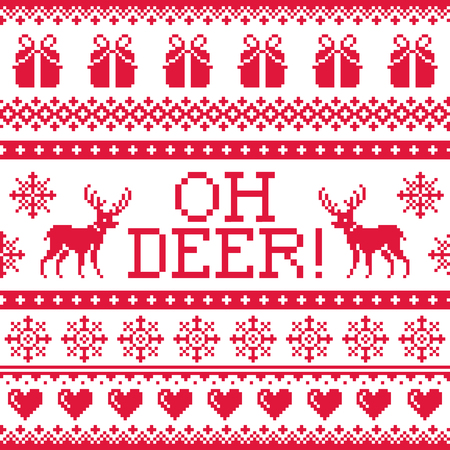 red wallpaper: Oh deer red pattern, Christmas seamless design Illustration