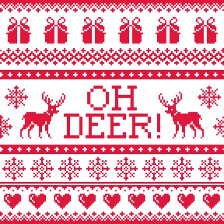 christmas postcard: Oh deer red pattern, Christmas seamless design, winter background