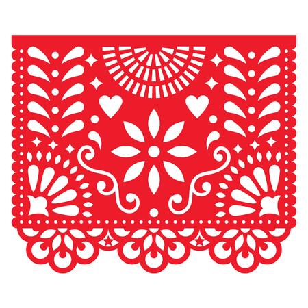 멕시코 종이 장식 - Papel Picado 벡터 디자인, 전통적인 축제 배너 멕시코의 garlands에서 영감을 일러스트