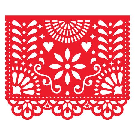 Decoraciones de papel mexicanas - Papel Picado diseño de vectores, bandera fiesta tradicional inspirado en guirnaldas en México