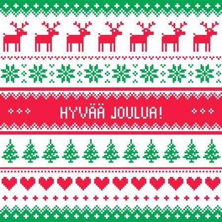 Hyvaa Joulua greeting card - Merry Christmas in Finnish