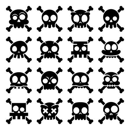 Halloween vector cartoon skull with bones icons