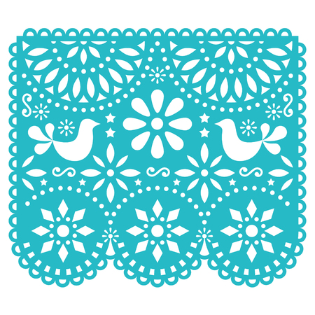 Papel Picado vector design template, Mexican paper decorations with flowers and birds, traditional fiesta banner in turquoise