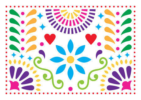 Patrón de vector de arte popular mexicano, diseño colorido con flores inspiradas en el arte tradicional de México