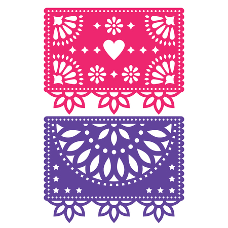 Papel Picado vector design template, Mexican paper decorations flowers and geometric shapes, two party banners