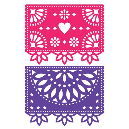 Plantilla de diseño vectorial Papel Picado, decoraciones de papel mexicano flores y formas geométricas, dos banners de parte Ilustración de vector