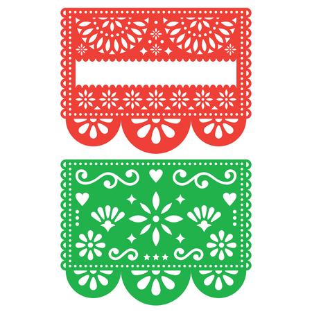 멕시코 Papel Picado 벡터 디자인 템플릿, 컷 아웃 종이 장식 꽃과 기하학적 모양, 두 파티 배너