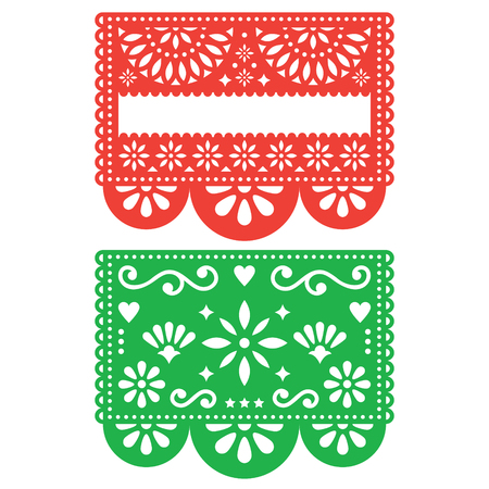 Mexican Papel Picado vector design template, cutout paper decorations flowers and geometric shapes, two party banners