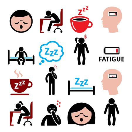 Fatigue vector icons set, tired, sressed or sleepy man and woman design Çizim
