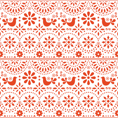 Mexican folk art vector seamless pattern with birds and flowers, fiesta design inspired by traditional art form Mexico Illustration