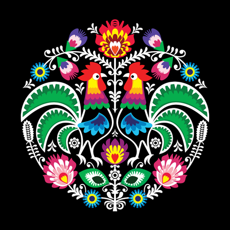 Polish vector folk art floral round embroidery with roosters, traditional pattern - Cut out Lowickie on black Illustration