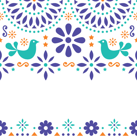 Mexican folk art vector greeting card template Illustration