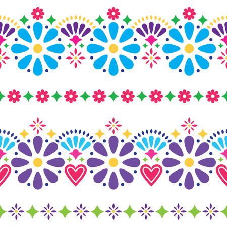 Mexican folk seamless vector background - colorful long designs with flowers