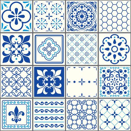Patrón de azulejos portugueses, azulejos de Lisboa azul marino transparente, diseño de cerámica geométrica vintage Azulejos Ilustración de vector
