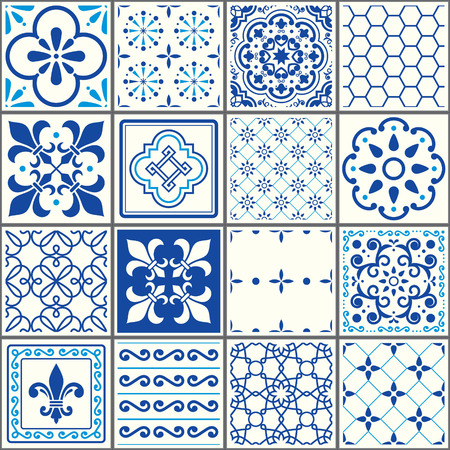 patchwork: Portuguese tiles pattern, Lisbon seamless navy blue tiles, Azulejos vintage geometric ceramic design