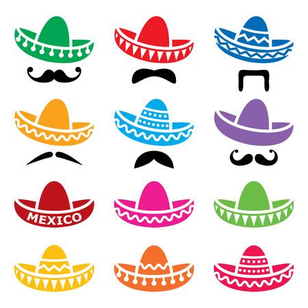 Cappello messicano del sombrero con le icone di vettore dei baffi o dei baffi messi