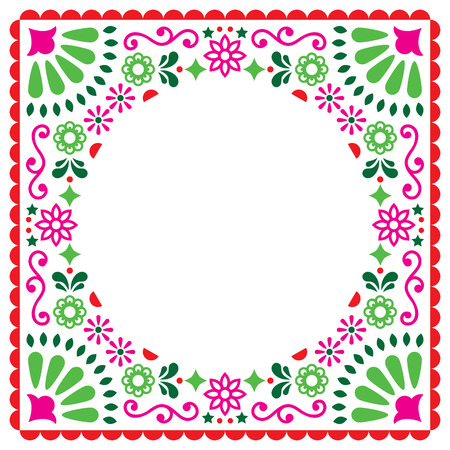 Vector greeting card, Mexican style wedding or party invitation, floral pink and green design