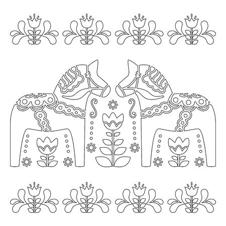 스칸디나비아 개요 벡터 디자인, 스웨덴어 Dala 또는 Dalecarlian 말 패턴, 성인을위한 색칠 공부