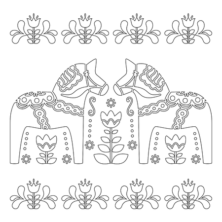 Scandinavian outline vector design, Swedish Dala or Dalecarlian horse pattern, coloring book for adults