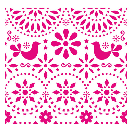 Mexican folk art vector pattern with birds and flowers, pink fiesta greeting card design inspired by traditional art form Mexico