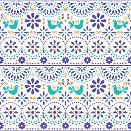 Mexican folk art vector seamless pattern with birds and flowers, colorful fiesta design inspired by traditional art form Mexico Illustration