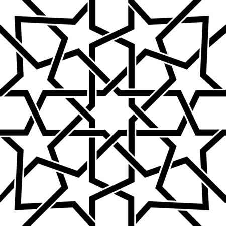 patchwork: Moroccan tile black and white design, Moorish seamless vector pattern, Geometric abstract tiles
