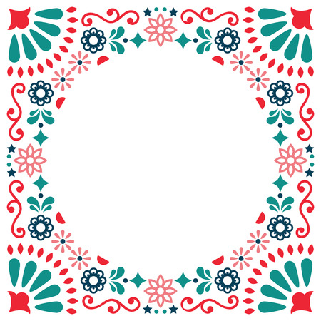 Mexican folk vector greeting card, wedding or party invitation decoration, floral and border abstract, frame Illustration
