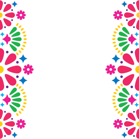 Mexican folk vector wedding or party invitation, greeting card, colorful frame design with flowers