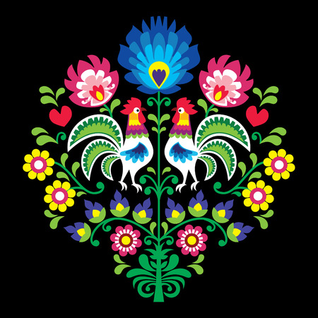 Polish folk vector pattern with roosters - floral design Patterns Lowickie cutout on black Illustration