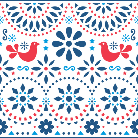 Mexican folk art vector seamless pattern with birds and flowers, red and blue fiesta design inspired by traditional art form Mexico