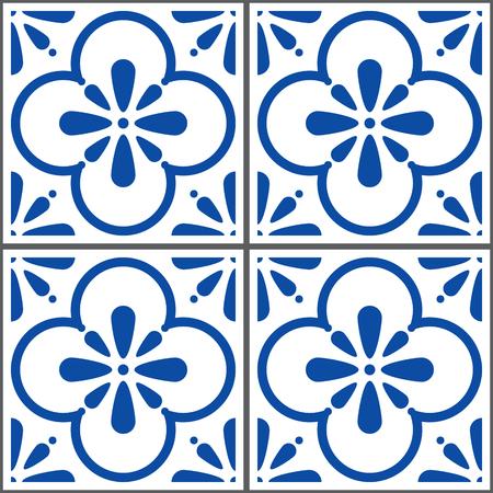 Azulejos vector tiles pattern, Portuguese seamless blue tiles design, Geometric ceramics  イラスト・ベクター素材