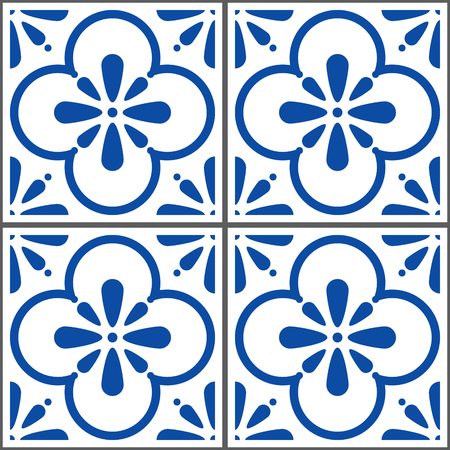 Azulejos vector tiles pattern, Portuguese seamless blue tiles design, Geometric ceramics 向量圖像