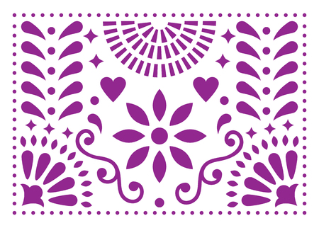 Mexican folk art vector pattern, purple design with flowers inspired by traditional art form Mexico