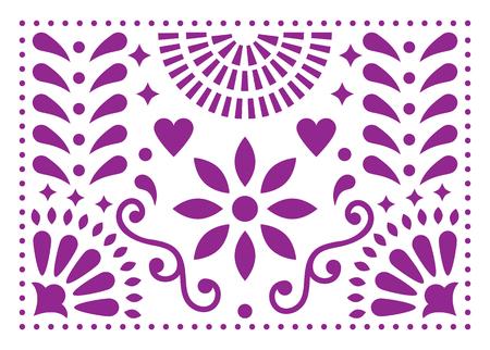 Wzór meksykańskiej sztuki ludowej, fioletowy wzór z kwiatami inspirowanymi tradycyjną sztuką z Meksyku