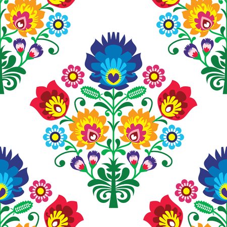 Seamless folk art vector pattern - Polish traditional repetitive design with flowers