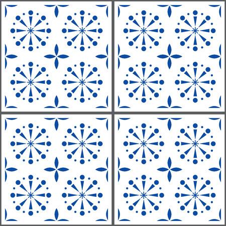 Portuguese vector tile pattern, Lisbon seamless indigo blue tiles, Azulejos vintage geometric ceramics Illustration