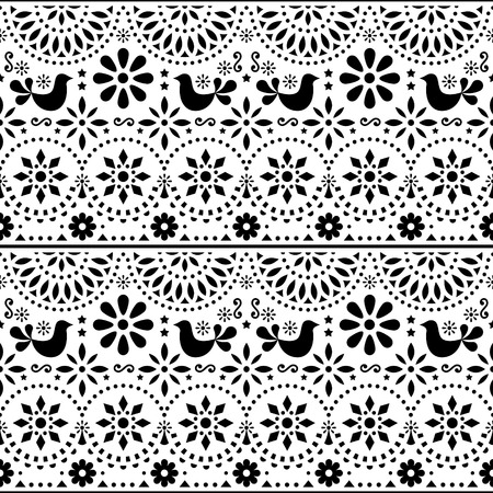 Mexican folk art vector seamless pattern with birds and flowers, black and white fiesta design inspired by traditional art form Mexico Illustration
