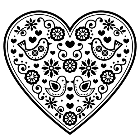 Scandinavian folk heart vector illustration.
