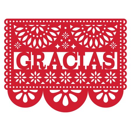 Mexican Papel Picado vector design - Gracias pattern thank you card